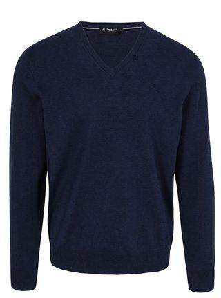 Tmavomodrý sveter s véčkovým výstrihom Hackett London