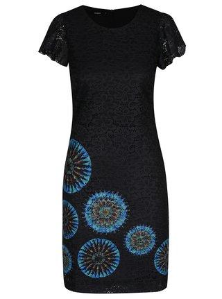 Čierne čipkované šaty s potlačou Desigual Dafne