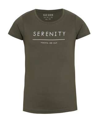 Kaki dievčenské tričko s krátkym rukávom a nápisom Blue Seven