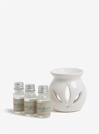 Darčeková súprava svietnika s tromi vonnými olejmi s s vôňou malín, maku, červených ríbezlí a zvončeka SIFCON