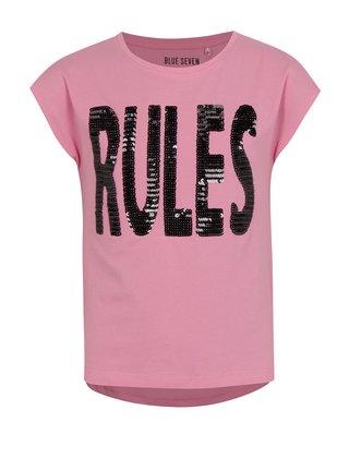 Ružové dievčenské tričko s flitrovým nápisom Blue Seven