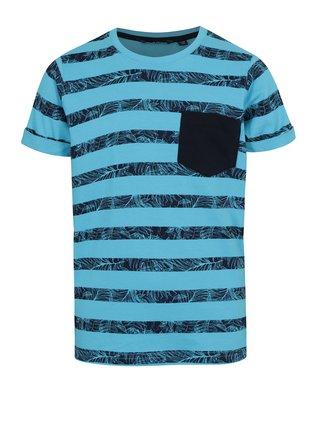 Modré chlapčenské pruhované tričko s vreckom Blue Seven