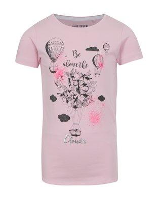 Svetloružové dievčenské tričko s potlačou motýľov Blue Seven