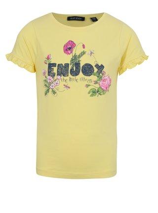 Žlté dievčenské tričko s nápisom a volánmi na rukávoch Blue Seven