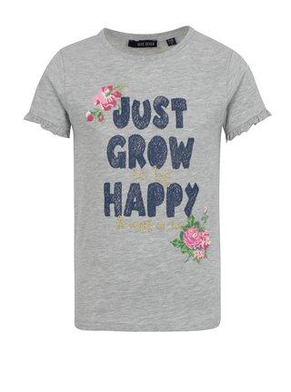Šedé holčičí žíhané tričko s nápisem a volány na rukávech Blue Seven