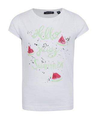 Biele dievčenské tričko s potlačou melónov Blue Seven