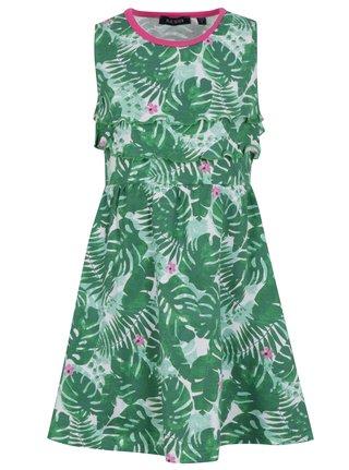 Zelené dievčenské vzorované šaty s volánmi Blue Seven