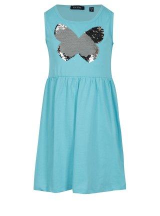 Tyrkysové holčičí šaty s magickými flitry Blue Seven