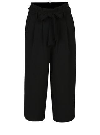 Pantaloni culottes negri cu funda in talie - ONLY Karolina