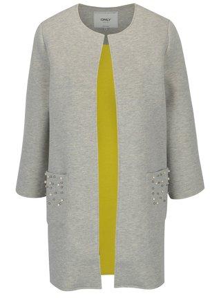 Svetlosivý melírovaný kabát s korálkovou aplikáciou ONLY Micol