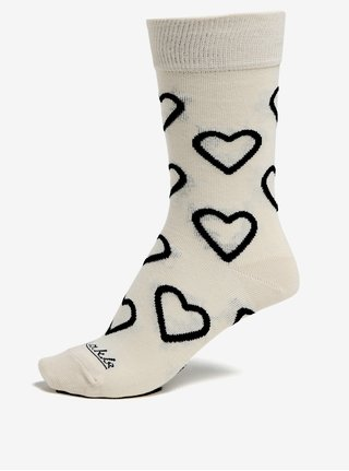 Černo-krémové vzorované unisex ponožky Fusakle Drsňák Love