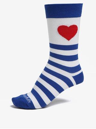Sosete alb & albastru unisex cu model in dungi si inimioara - Fusakle Zamilovaný Sailor