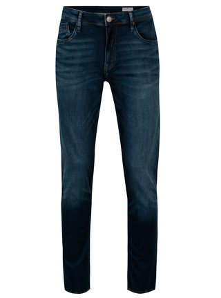 Tmavě modré pánské regular fit džíny s vyšisovaným efektem Cross Jeans Jimi