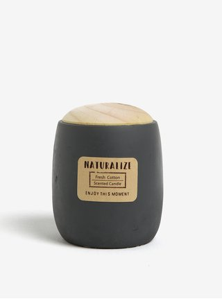 Lumanare parfumata in recipient ceramic gri cu capac din lemn - Kaemingk