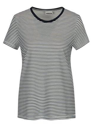 Tricou alb & bleumarin cu print in dungi - Noisy May Shelly