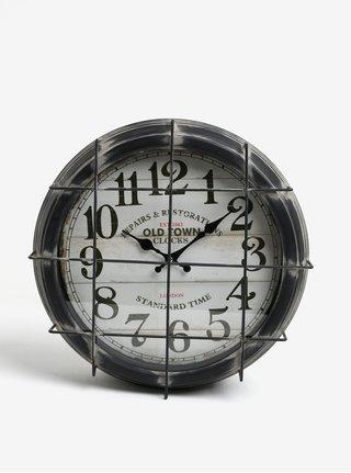 Tmavě šedé kovové nástěnné hodiny Kaemingk