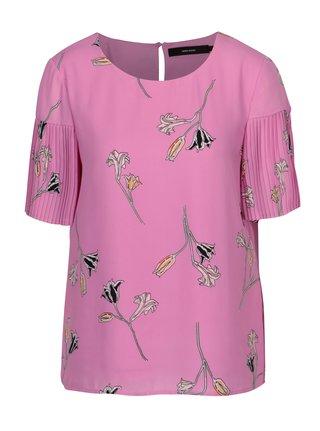 Bluza roz cu print floral si maneci plisate - VERO MODA Elena