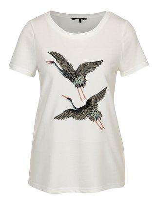 Krémové tričko s výšivkami volavky VERO MODA Justine