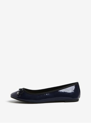 Balerini albastru inchis cu funda si aspect lucios - Dorothy Perkins