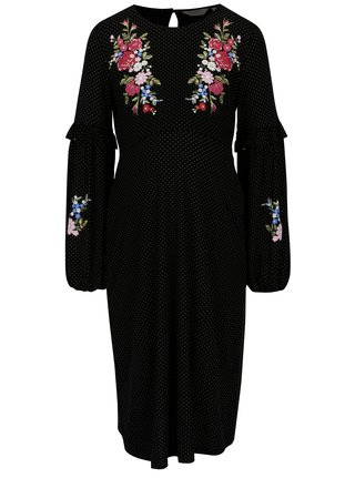 Rochie neagra cu buline si print floral pentru femei insarcinate - Dorothy Perkins Maternity