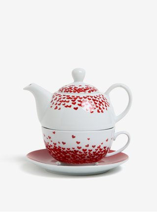 Set porcelánové konvice, šálku a podšálku v červené barvě Kaemingk