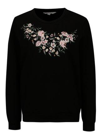 Bluza neagra cu print si broderie florala Dorothy Perkins Petite