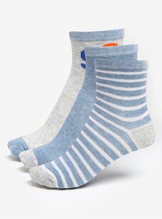 Súprava troch párov chlapčenských pruhovaných ponožiek v sivo-modrej farbe 5.10.15.