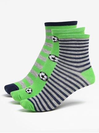 Súprava troch párov chlapčenských pruhovaných ponožiek v sivo-zelenej farbe 5.10.15.