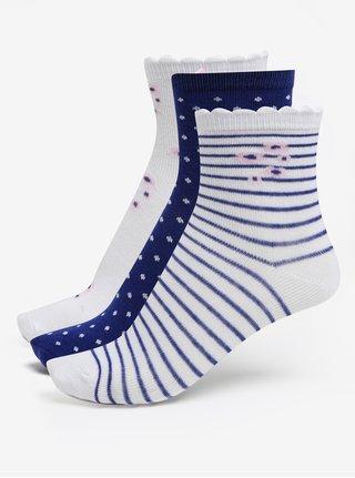 Súprava troch párov dievčenských vzorovaných ponožiek v modrej a bielej farbe 5.10.15.