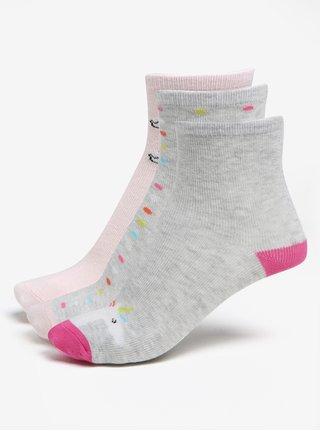 Sada tří párů holčičích ponožek v růžové a šedé barvě 5.10.15.