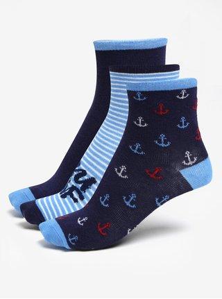Súprava troch párov vzorovaných chlapčenských ponožiek v modrej farbe 5.10.15.