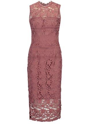 Růžové krajkové šaty bez rukávů Little Mistress