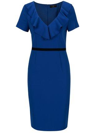 Modré šaty s volánikmi vo výstrihu Paper Dolls