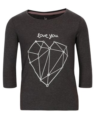 Tmavě šedé holčičí tričko s potiskem srdce 5.10.15.