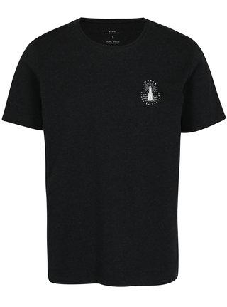 Tricou negru cu print logo - Makia Beam