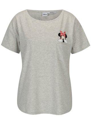 Tricou gri melanj cu buzunar si print Minnie -  Haily´s Minnie