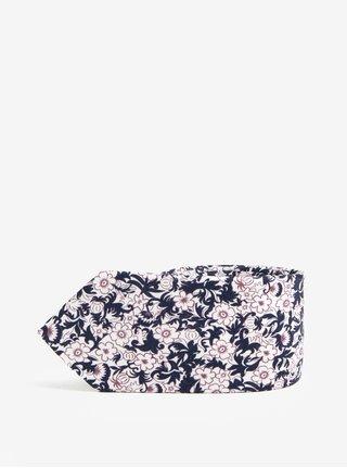 Biela kvetovaná kravata Jack & Jones Premium Crussel