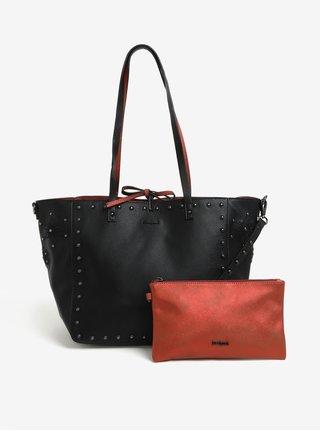Geanta shopper rosu cu negru reversibila cu portofel  Desigual Portland