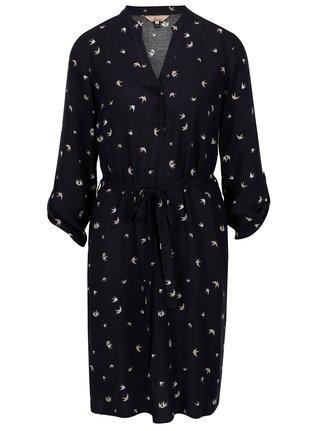 Tmavomodré šaty s motívom vtáčikov Billie & Blossom