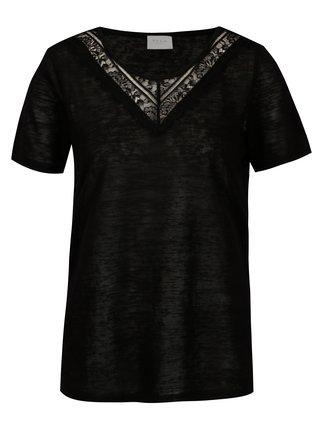 Čierne priesvitné tričko VILA Sumi