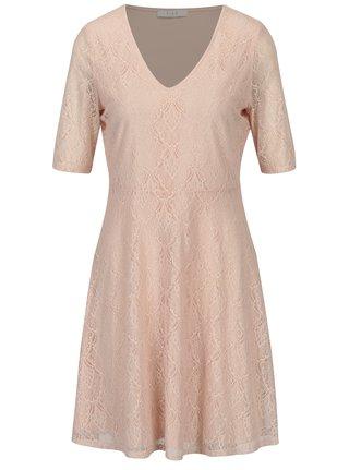 Svetloružové čipkované šaty VILA Frej