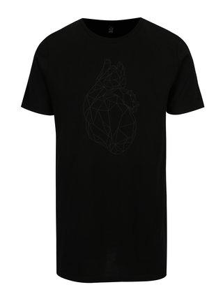 Tricou negru cu print pentru barbati - ZOOT Original Polygon heart