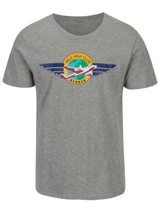 Šedé pánské žíhané tričko s potiskem ZOOT Original MCH