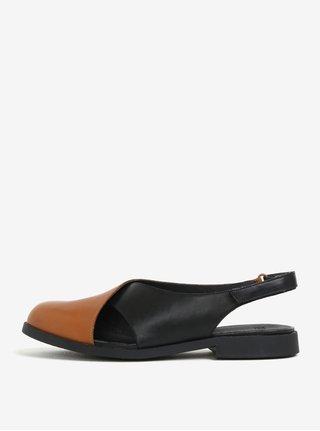 Černo-hnědé dámské kožené sandály s uzavřenou špičkou Camper Twins