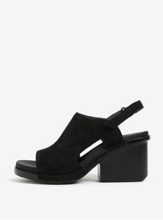 Čierne semišové sandále na podpätku Camper Ivy