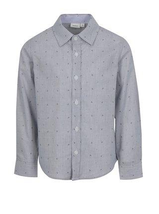 Tmavomodrá chlapčenská vzorovaná košeľa name it Mias