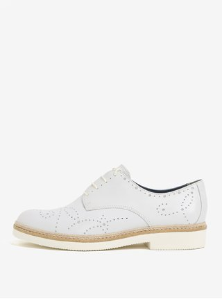 Pantofi albi di piele naturala cu perforatii si siret Tamaris