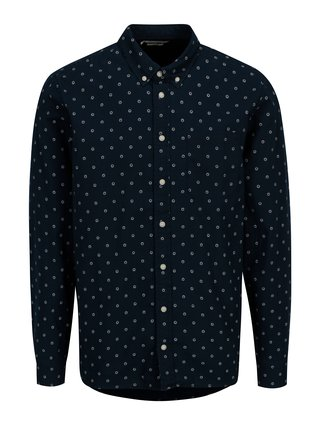 Camasa slim fit bleumarin cu print - Casual Friday by Blend