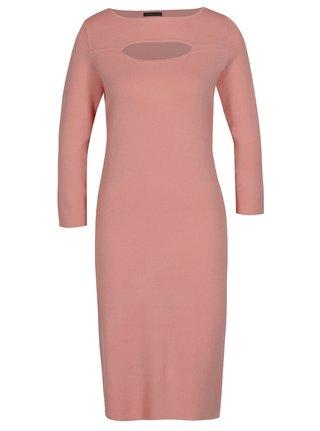 989c78497c3 Růžové dámské šaty s 3 4 rukávem Pietro Filipi