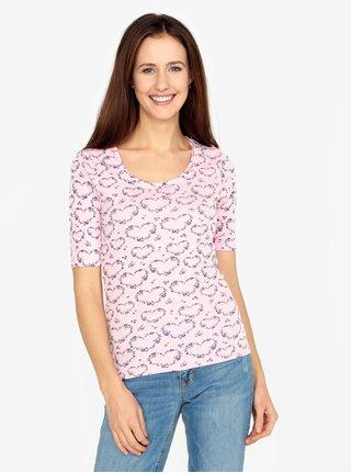 Tricou roz deschis cu print floral si inimi M&Co